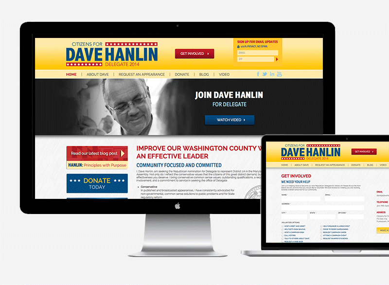 Citizens for Dave Hanlin Website by Sarah Koons Marketing